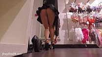 Jeny Smith flashing her seamless pantyhose while shopping