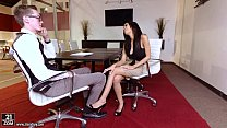 Amazing Footjob in the office - Shay Evans