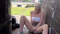 Teen blonde flasher Carly Raes outdoor masturbation and exhibitionist babes