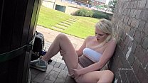 Teen blonde flasher Carly Raes outdoor masturbation and exhibitionist babes Preview