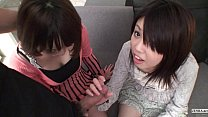 Subtitled Uncensored POV Japanese CFNM threesom... thumb