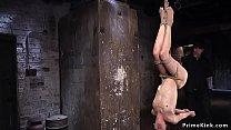 In back bent suspension brunette toyed