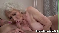 Gray haired grandmother gobbles for cum Thumbnail