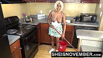 Sheisnovember Topless Mopping In Kitchen & Upskirt Ebony Ass & Big Natural Tits صورة