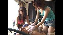 Subtitled CFNM Japanese gloved femdom full body teasing preview image