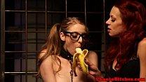 Lezdom master feeds her sub like a dog