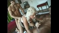 Pretty blonde housewife Sandy Daniels is fond of sucking, cock riding and washing with hot jizz with three well-stuffed studs