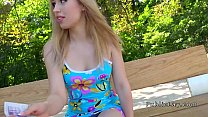 Blonde amateur flashing titties outdoors