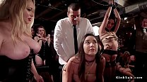 Huge tits mistress controls her slaves at party pornhub video
