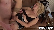 Fun blonde MILF fucks a younger guy