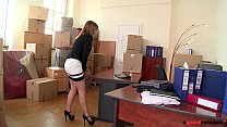 Hardcore fuck at the new office with delivery guy makes Hanna Montada cum