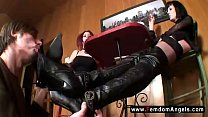Femdom foot worship - gothic mistresses bootlicker