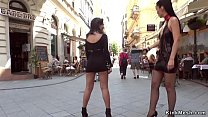 Bare tits teen walked in public downtown
