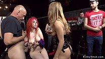 Redhead double penetration in public bar