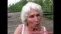 Dirty granny toy fucking her old hairy slit preview image