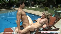 Busty blondie Courtney Cummz fuck at poolside video