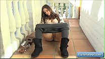 Natural big tit amateur babe Summer pissing on the porch
