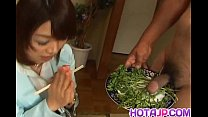 Mitsu Anno gets cock deepthroat and cum in mouth in food fetish porn image