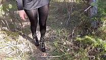 Walking On The Wood Wearing A Black Dress  Pant