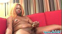 Curvy black tranny fingers her tight asshole