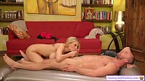 Busty blonde masseuse gives vip massage
