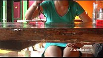 Czech girl touches herself to orgasm in a crowded restaurant (real)