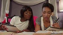 Hot black lesbian students paddling