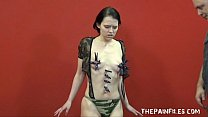 Teen painslut punished and whipped in the dungeon by her stern English master thumbnail