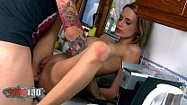 Pornstar Erica Fontes fucked in the ass in the kitchen by young guy