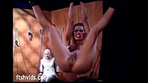 Hanged babe enjoy pussy spanking