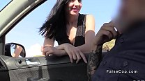 British fake cop bangs busty Spanish babe