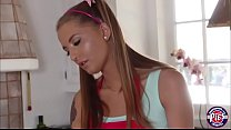 Naughty teen Avery Adair takes off her dress an...