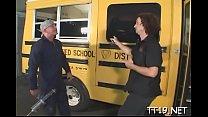 Naughty schoolgirl gives sexy blowjob and gets fucked hard Thumbnail