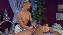 Massage Rooms Young blonde teen rides big cock before intense orgasm Image