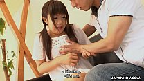 Asian adorable teen getting cummed in her mouth real sloppy