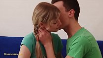 young blond teen girl just 18 years with very s...