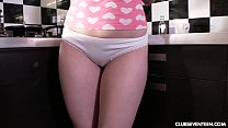 Superb teen Lolly Small masturbating in the kitchen