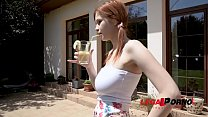 Redhead teenager Olivia's big natural tits fucked balls deep in the outdoors GP890