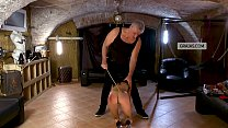 Slave tested, receives caning to the butt as pu... thumb