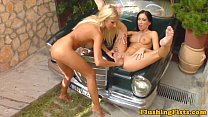Lesbo slut fisted squirts over nice car