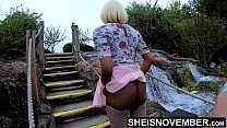 18754 4k Boyfriend Pressured Girlfriend To Pussy Flash Outdoors Lifting Leg Up, Young Innocent Black Babe Msnovember Pull Panties To Side In Public Ass Upskirt Exhibition At Mini Golf  Sheisnovember preview
