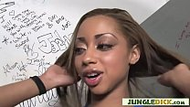 Ebony Beauty Takes Big White Cock via Gloryhole - Angel Cummings