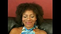 Mature busty black lady Jeannie Pepper with  curly hair is always glad to taste young hard schlong