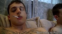 Bryce Corbin and Chris Porter smoke and wank in bed