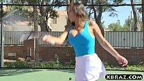 One black one white MILF tennis babes share a big rod Vorschaubild