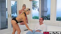 Blonde MILF and teen fucked with nerdy stepson preview image