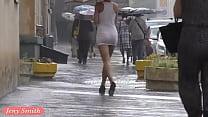 Jeny Smith white see through mini dress in public. صورة