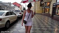 Jeny Smith white see through mini dress in public. thumbnail