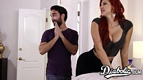 Busty redhead gets doggystyled roughly by husba...