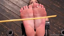 Strapped sub gets feet hard caned